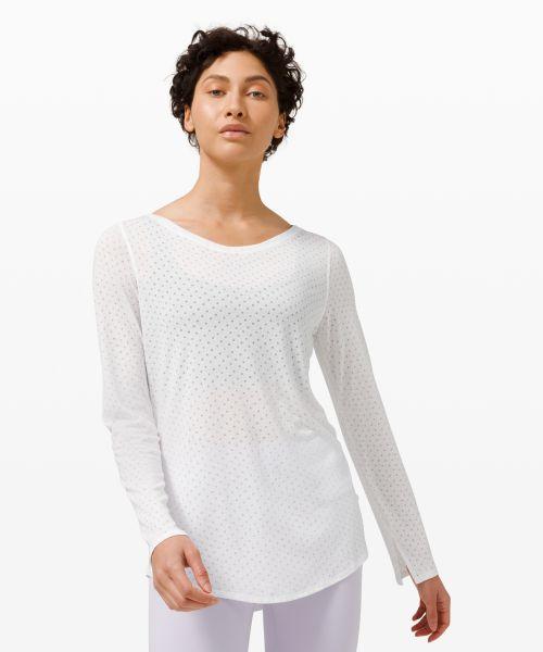 女士运动长袖 T 恤 *瑜伽 宽领口